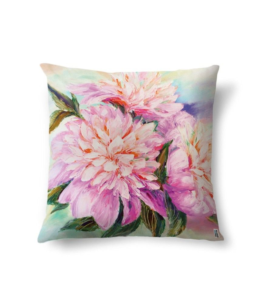 bluegape Pink Flowers Digitally Printed Cushion Cover 1 Piece