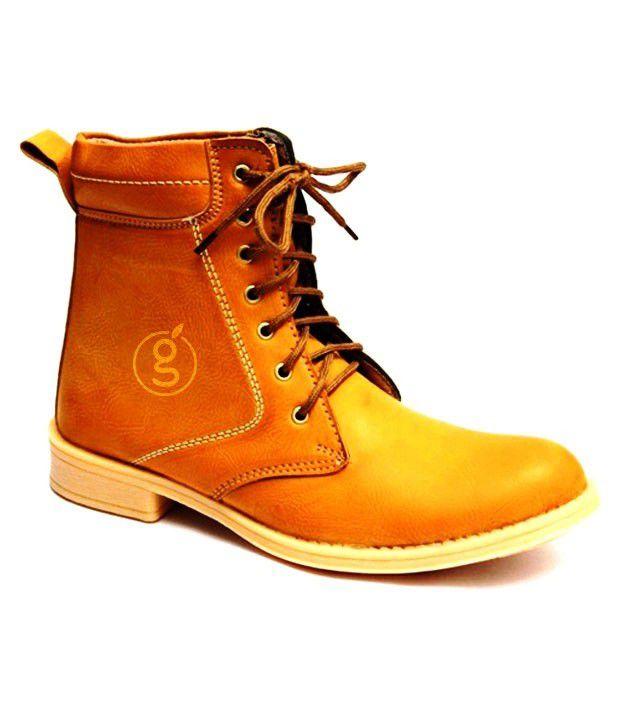 Conceptsnfashion Men's Plain Toe Boots - Mustard
