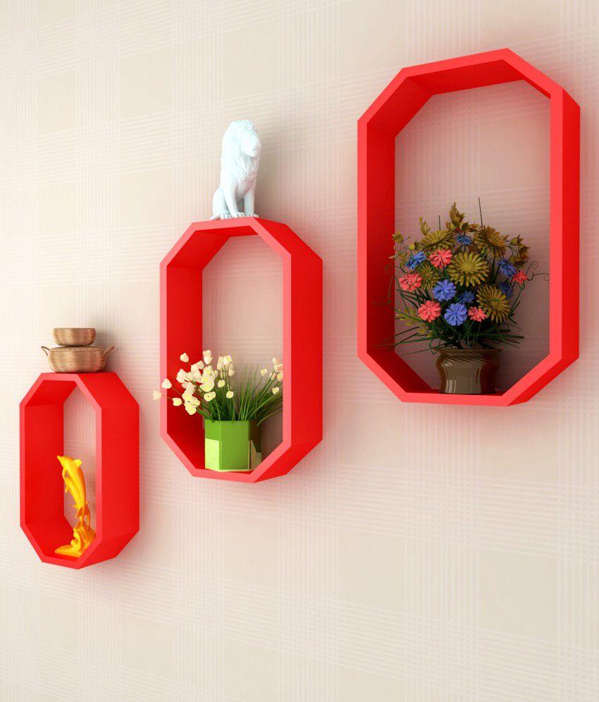 low priced 6e875 90862 Home Sparkle Red Wood Octagon Floating Shelf/ Wall Shelf ...