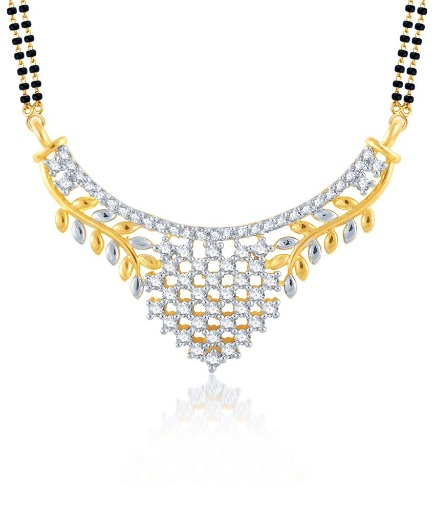Meenaz Sublime Gold And Rhodium Plated Cz Mangalsutra Pendant