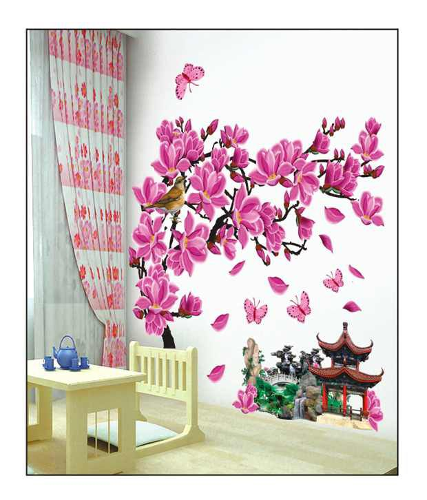 pindia multicolour 3d autumn flower design wall sticker - buy pindia