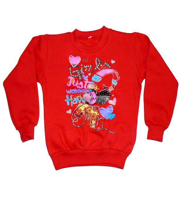 Sweet Angel Full Sleeves Red Color Printed Sweatshirts For Kids