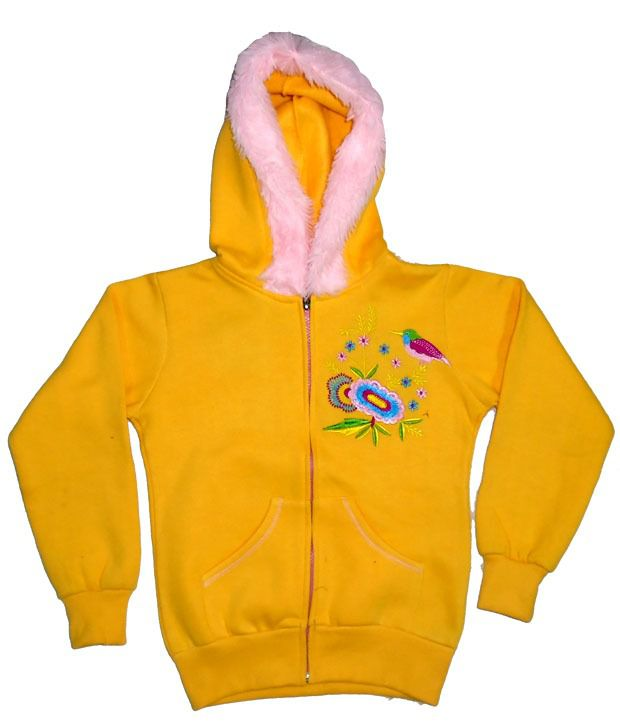Sweet Angel Full Sleeves Yellow Hooded Fleeze Jacket For Kids