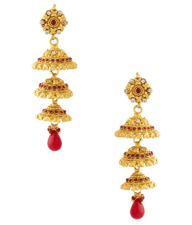 Voylla Festive Jhumki Earrings With Colored Stones