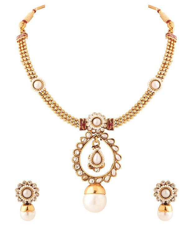 Voylla Gold Plated Necklace Set With Pearl Drop