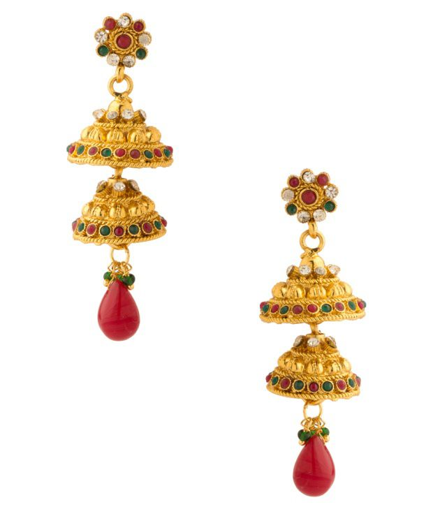Voylla Traditional Designs Inspired Jhumki Earrings With Colored Stones
