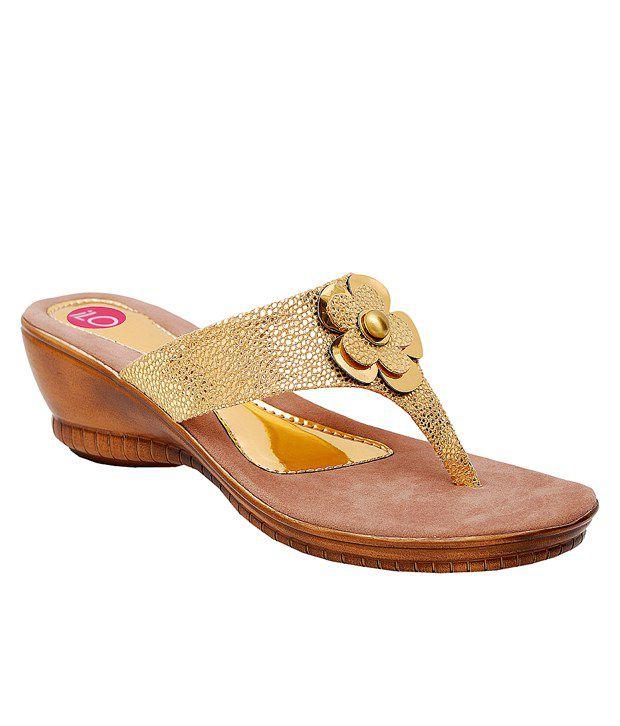iLO Gold Wedges Heeled Slip-On
