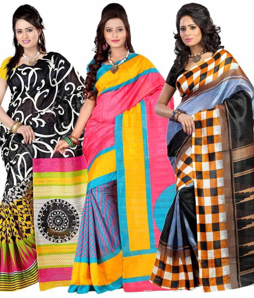 Ansu Fashion Multi Printed Bhagalpuri Silk Saree With Blouse Piece
