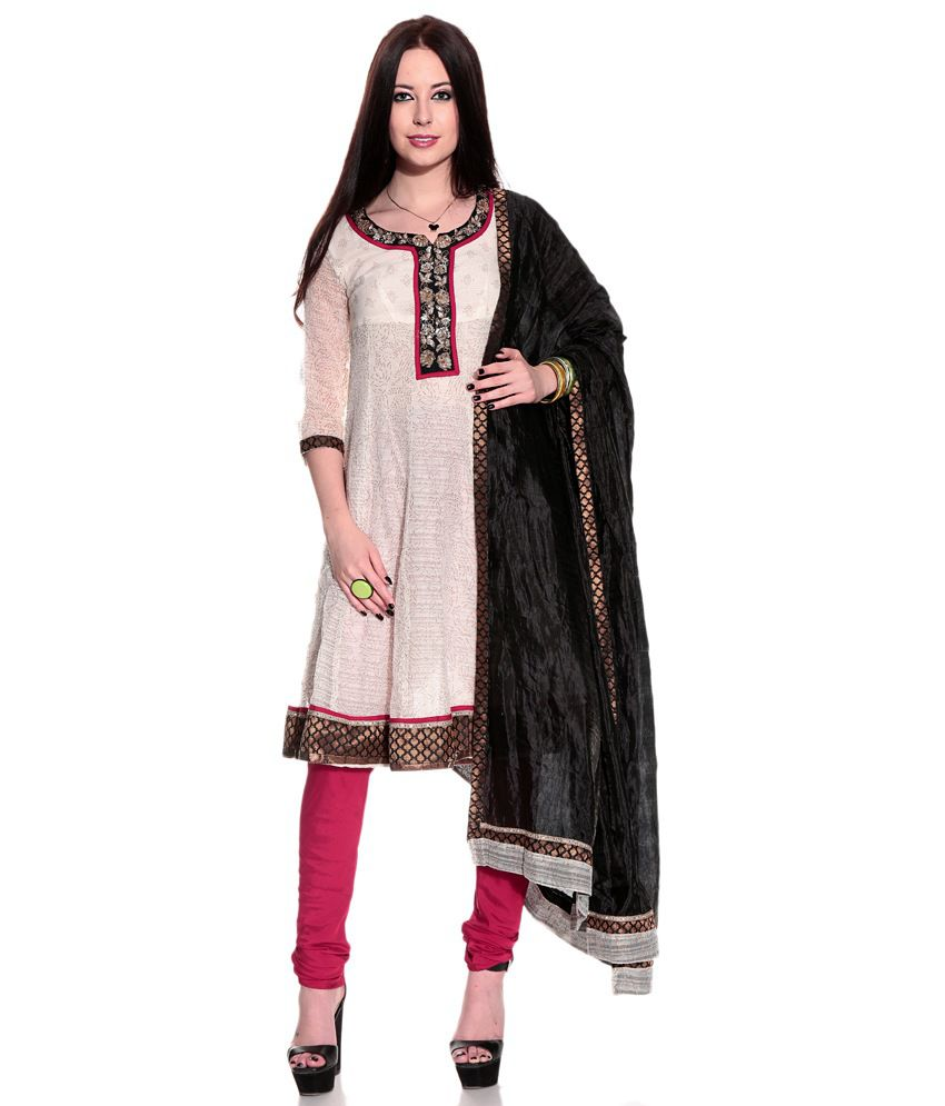Biba GhostWhite Embroidered Blended Stitched A Line  Salwar Suit
