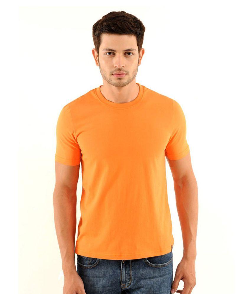 Freecultr Orange Cotton  T-Shirt