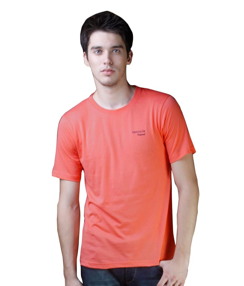 Freecultr Orange Cotton  T-Shirt