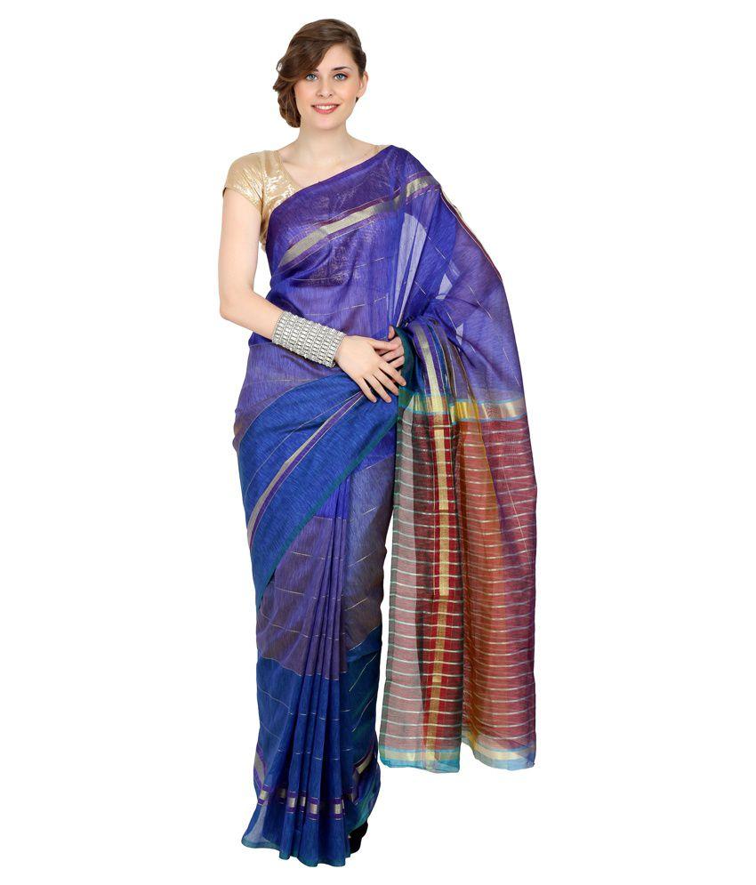 Anahi Blue Printed Silk  Saree