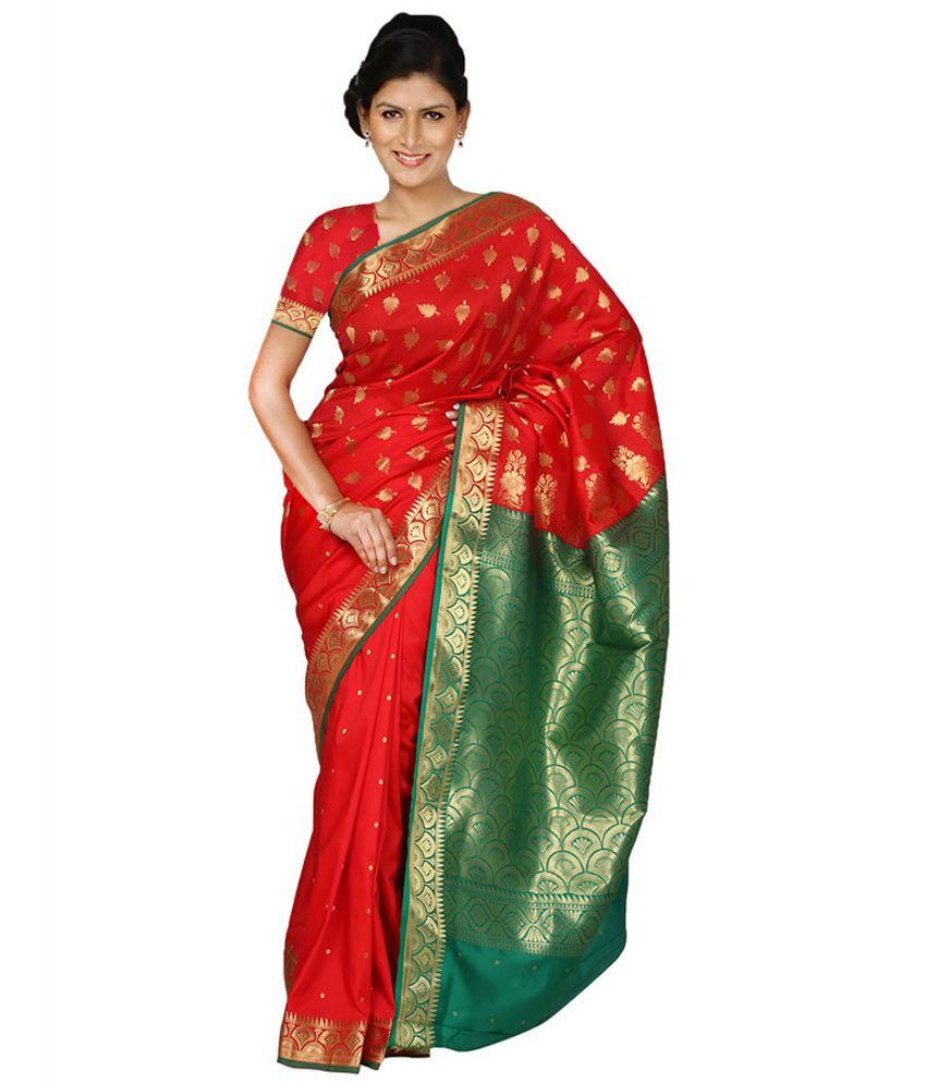 Paaneri Cotton Silk Red Color Saree With Gadwal Pallu