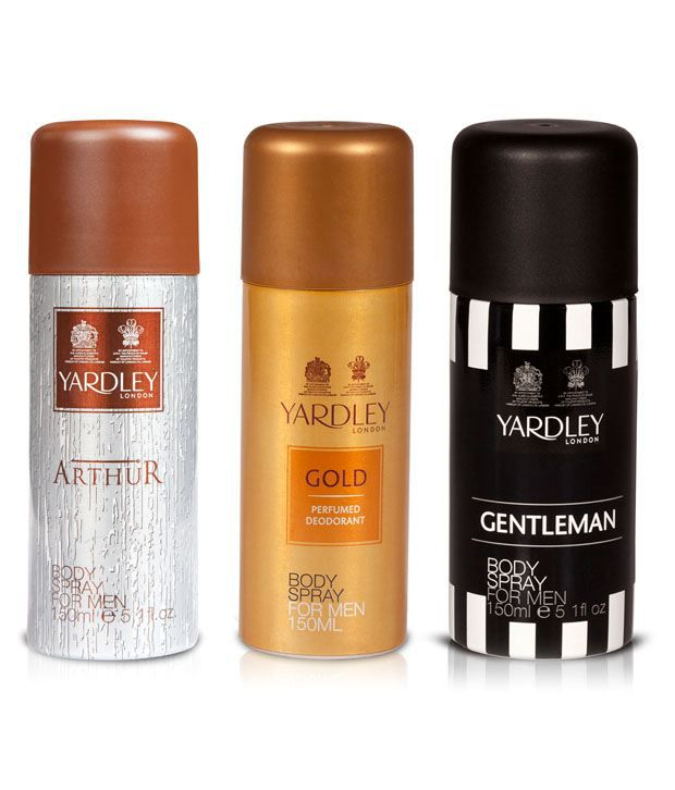 Yardley Arthur Body Spray Men 150 Ml + Yardley Gold Deodorant Men 150 Ml + Yardley Gentleman Deodorant Spray Men 150 Ml