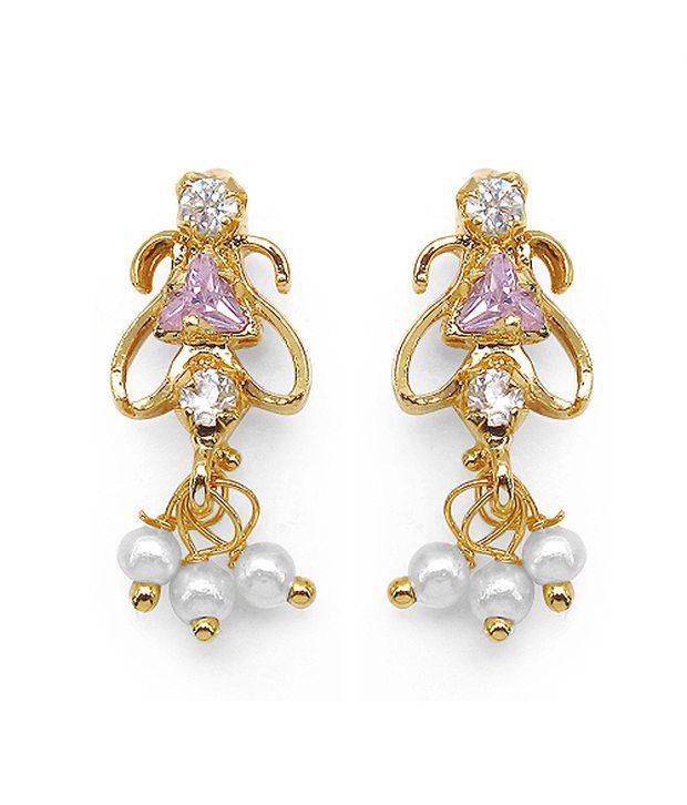 Johareez Pink Cubic Zirconia Brass Studs Earring