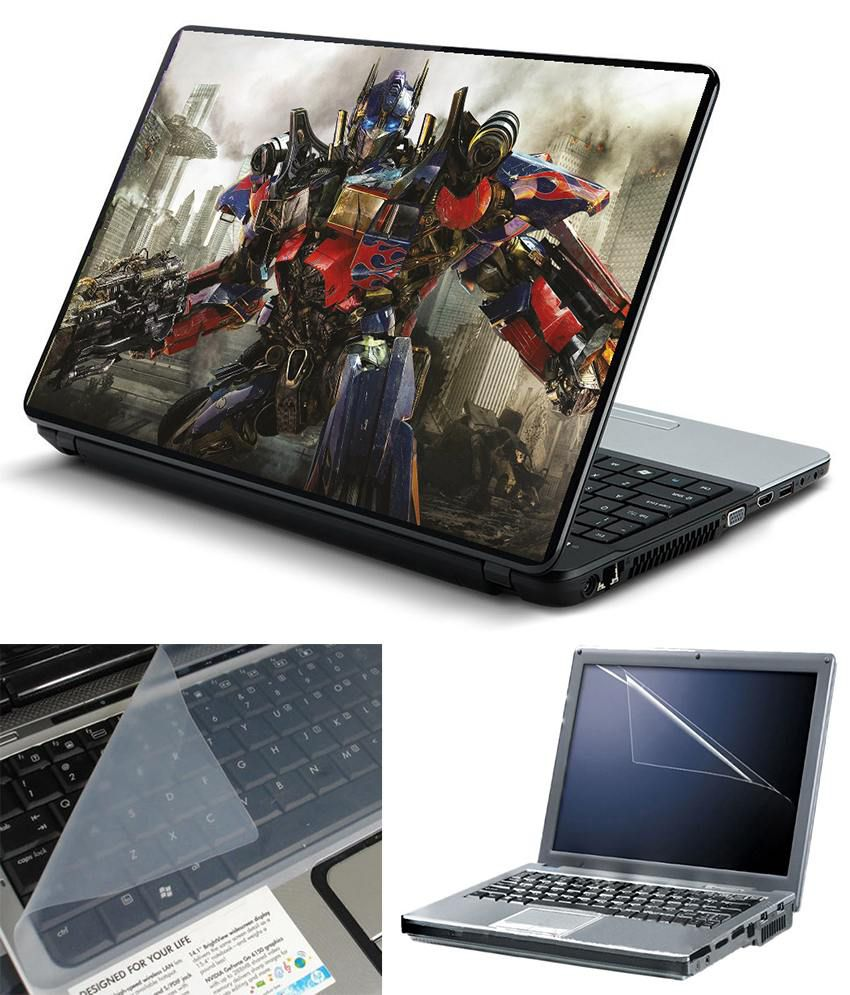 Finearts 3 In 1 Textured Laptop Skin Pack - Optimus Prime Printed With Screen Guard And Keyboad Protector