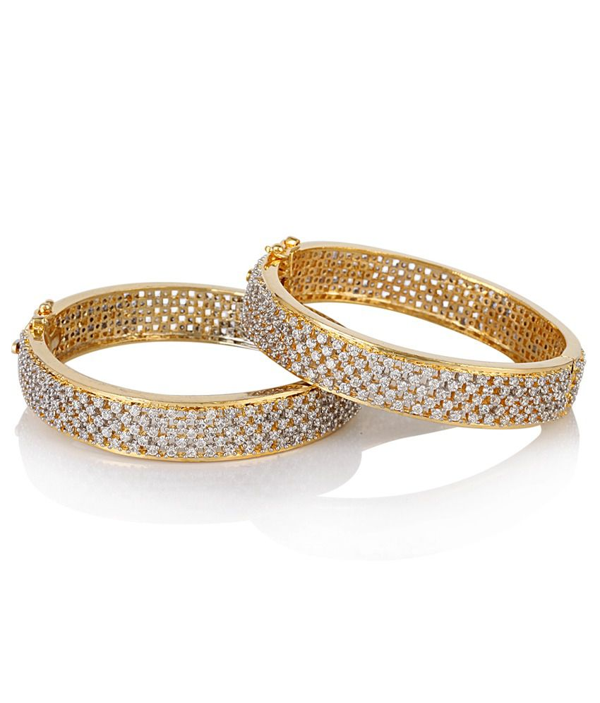 Jewels Galaxy Broad Hand Made American Diamond Bangles: Buy Jewels ...