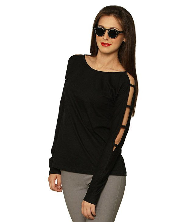 2fd50434655 Miss Chase Black Cotton Cut-Out Tops For Women Full Sleeve Round Neck  Casual Wear