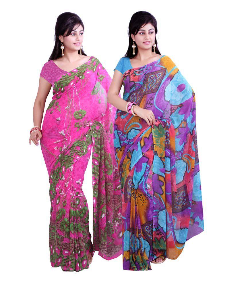 018f0a27d Aisha Multi Color Printed Faux Georgette Saree - Combo Of 2 - Buy Aisha  Multi Color Printed Faux Georgette Saree - Combo Of 2 Online at Best Prices  in India ...