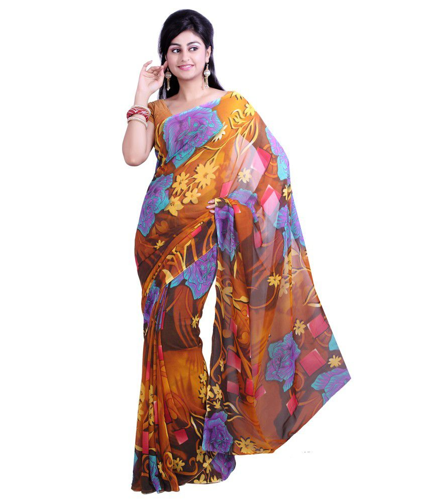 872f8d8e2 Aisha Multi Color Printed Faux Georgette Saree - Combo Of 3 - Buy ...