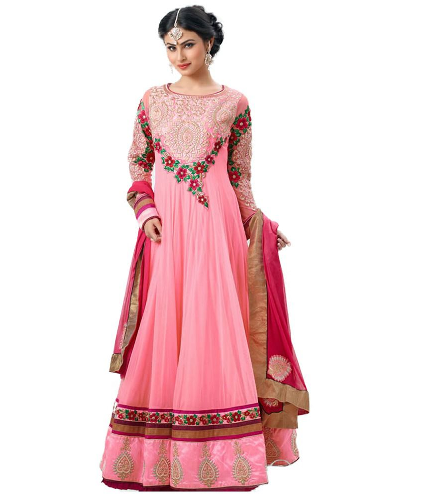 Crazevilla Pink Color Pure Georgette Designer Anarkali Suit