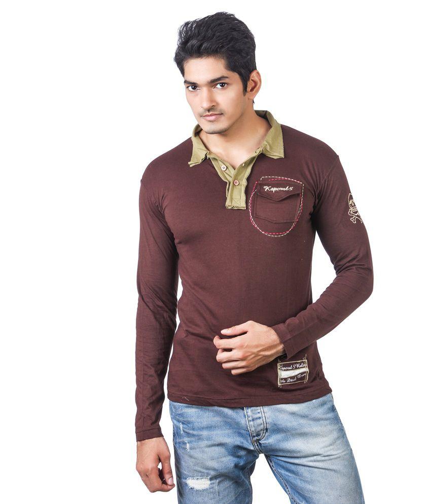 Kaporal full sleeve brown colour polo t shirt with green for Full sleeve polo t shirts