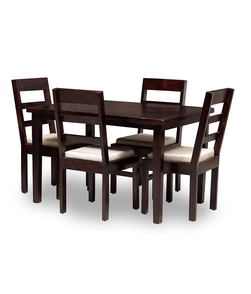 Solid wood 4 seater dining set buy solid wood 4 seater for Four chair dining table set