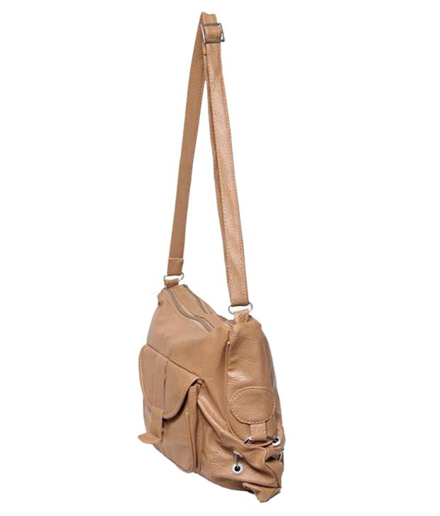 Borse Beige Faux Leather Sling Bag - Buy Borse Beige Faux Leather ...
