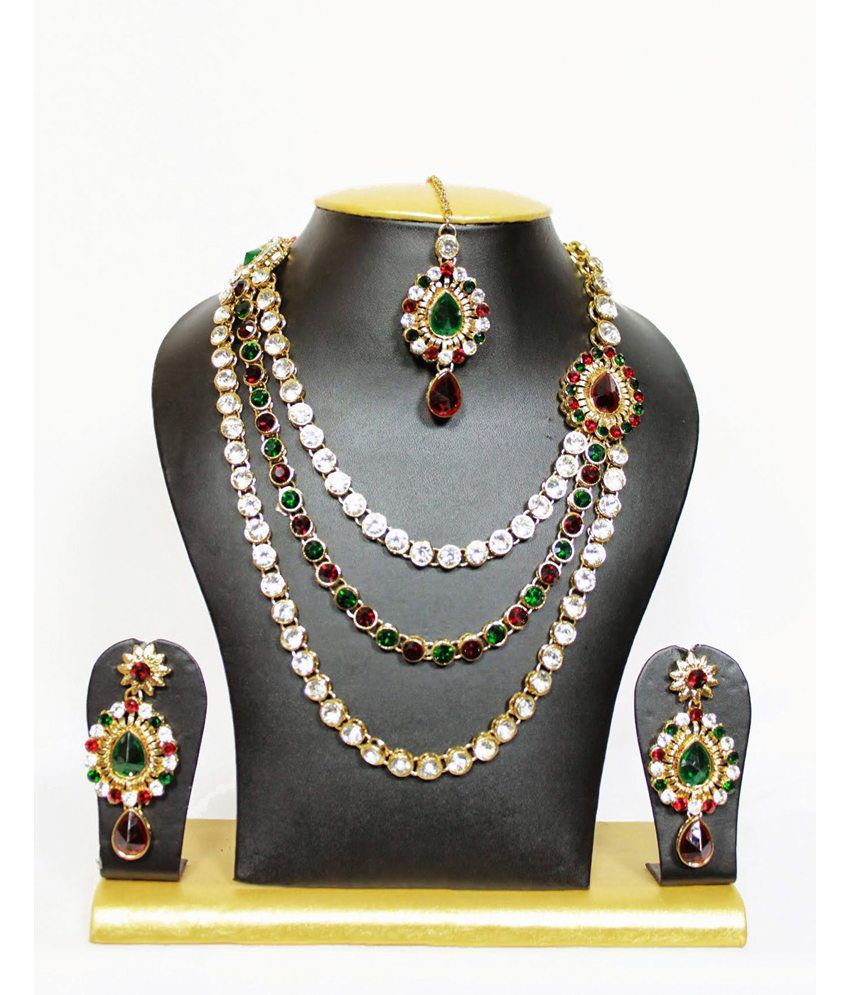 Classic Crystal Stone Jewelry Set In Maroon And Green - Buy ...