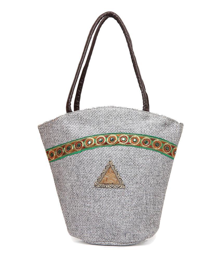 Kraftrush Grey Jute Shoulder Bags