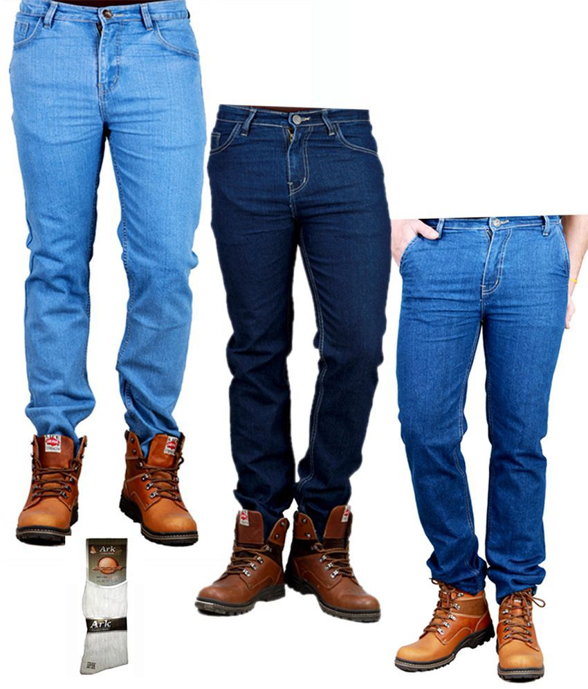 Sam & Jazz Men's Denim Combo Of 3 Jeans With Free 1 Pair of Assorted Socks