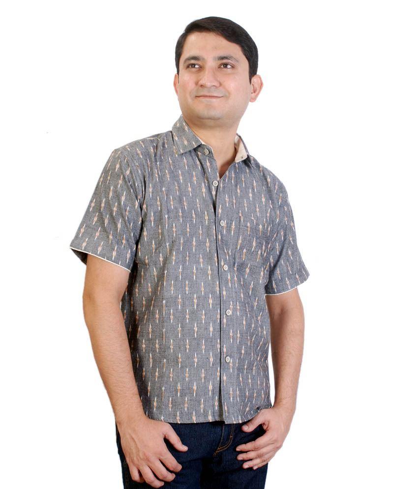 Viniyog Hand Woven Cotton Grey Ikat Weave Shirt