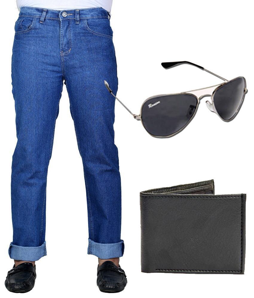 Sam & Jazz Blue Men's Jeans with Dynamic Wallet & Dashing Sunglass