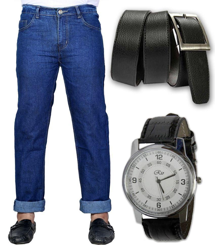 Sam & Jazz Blue Men's Jeans with Decent Watch & Dynamic Belt