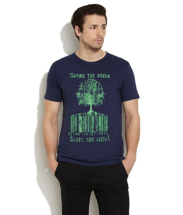Urban Yoga Blue Cotton T-shirt