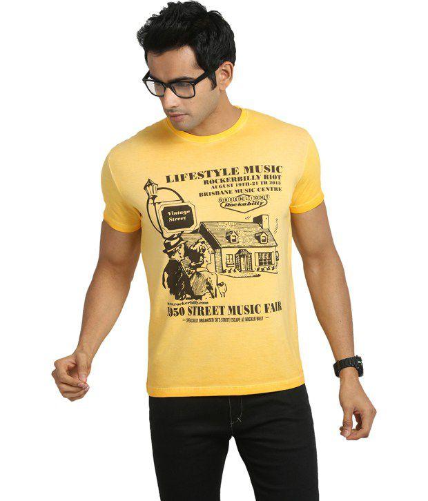 Blumerq Yellow Cotton  T-Shirt