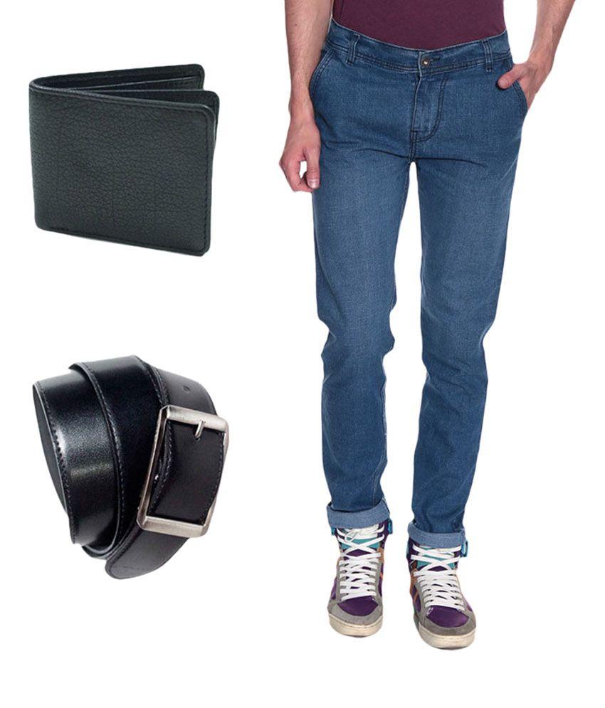 Fashion Denim Sky Blue Mens Jeans free Belt and Wallet