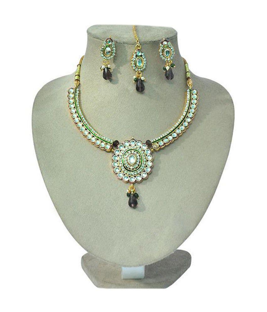 R S Jewels Gold Plated Kundan Meena Necklace Set Jewellery New Fashion