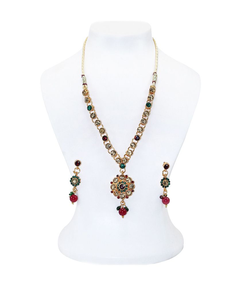 R S Jewels Gold Plated Necklace Set Multi Color Stone Imitation Jewelry Jewellery New ...