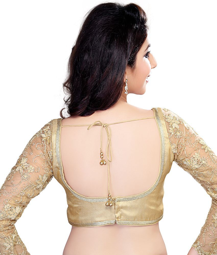 Vamas Gold Full Sleeve Embroidered Designer Blouse - Buy Vamas ...