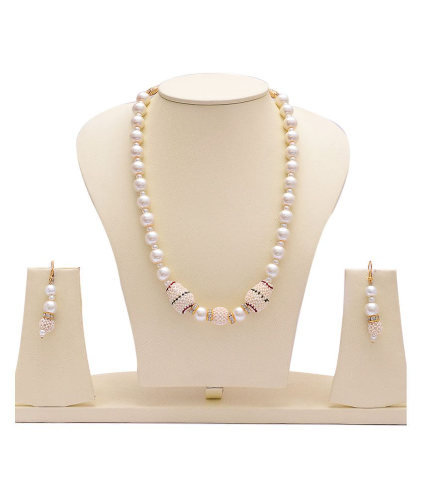 Manukunj White Contemporary Pearls Necklace Set