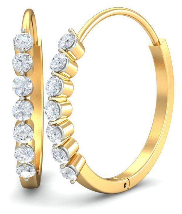 14Kt Hallmarked Gold & Certified Diamondbali Earrings BALI-102 By Diamondtine