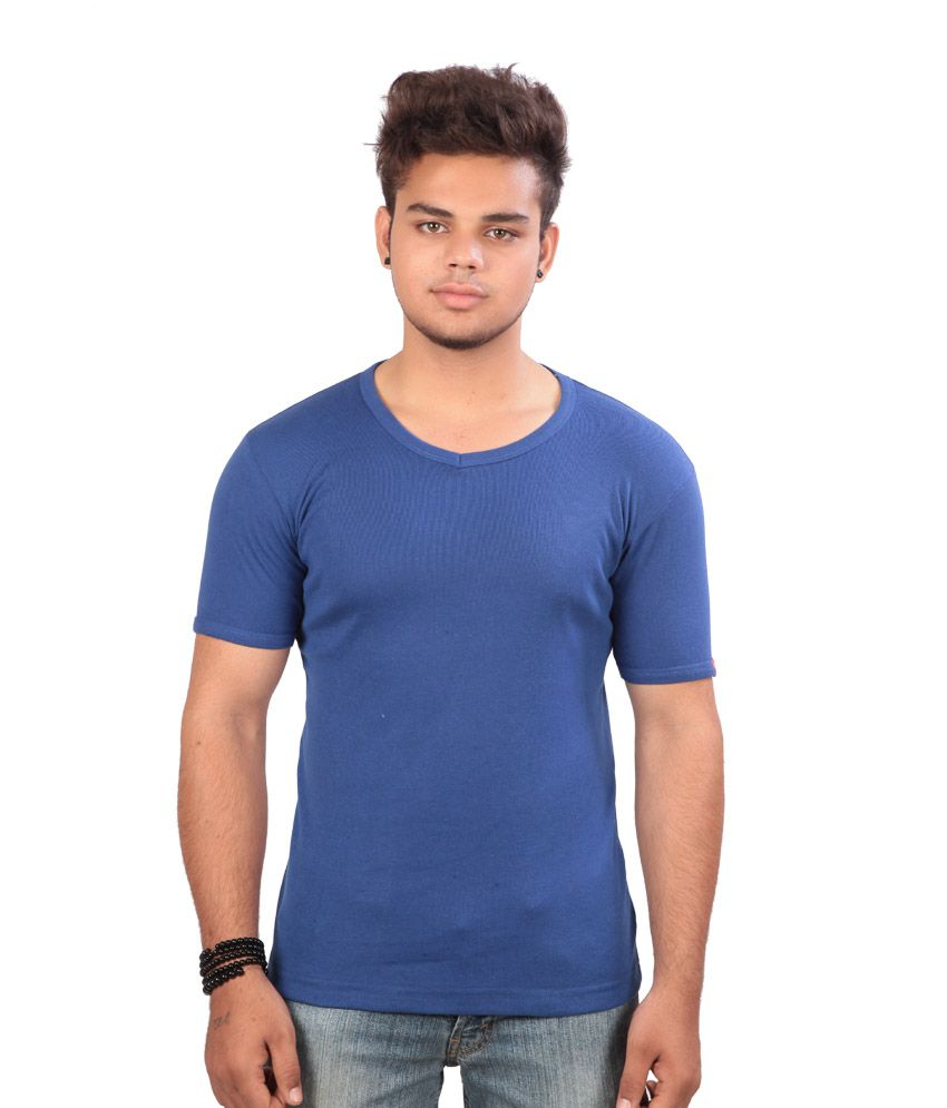 Emerge Plain Crew Neck Blue T-shirt