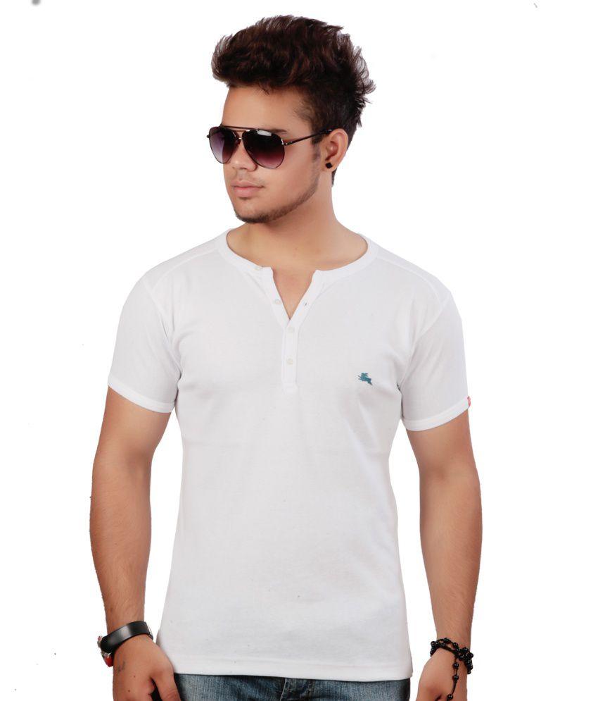 a8a834b870 Emerge Plain White Henley T-shirt