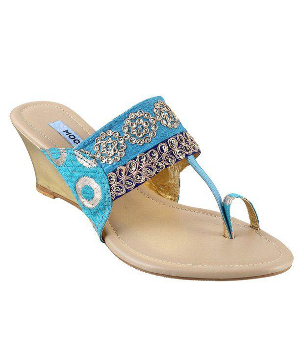 Mochi Blue Heeled Slip-On