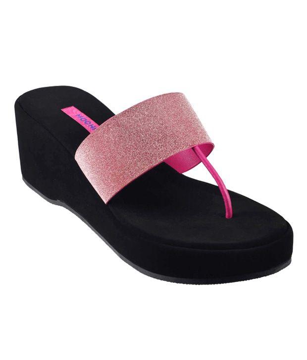 Mochi Pink Wedges Heeled Slip-On