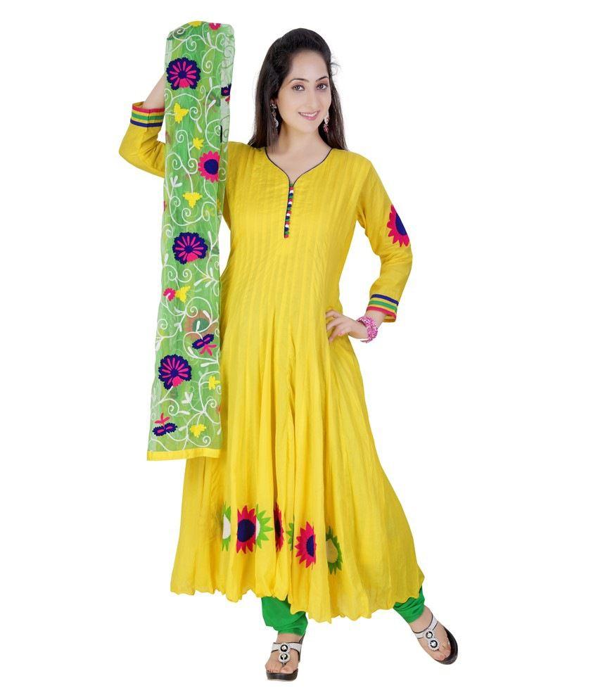 Mint Yellow Cotton Anarkali