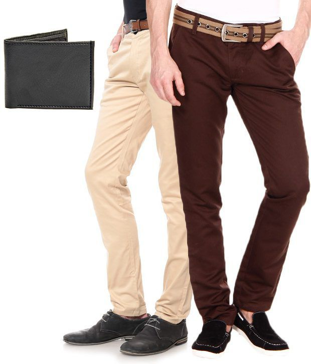 SF Brown Regular Casuals Combo Of 2 Chinos And 1 Leather Wallet