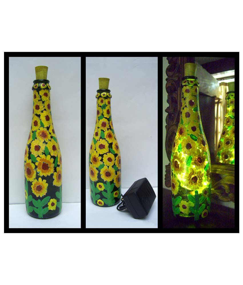 Bottles not empty sunflowers pattern small glass hand for Hand painted glass bottles