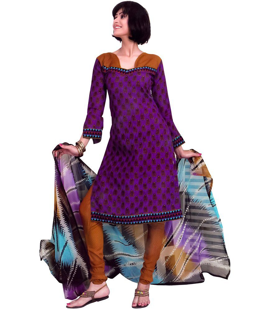 5906c1e97a Cotton Printed Dress Material With Chiffon Dupatta - Buy Cotton Printed Dress  Material With Chiffon Dupatta Online at Best Prices in India on Snapdeal